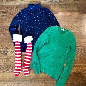 Ugly Christmas combo: sweater, turtleneck & socks